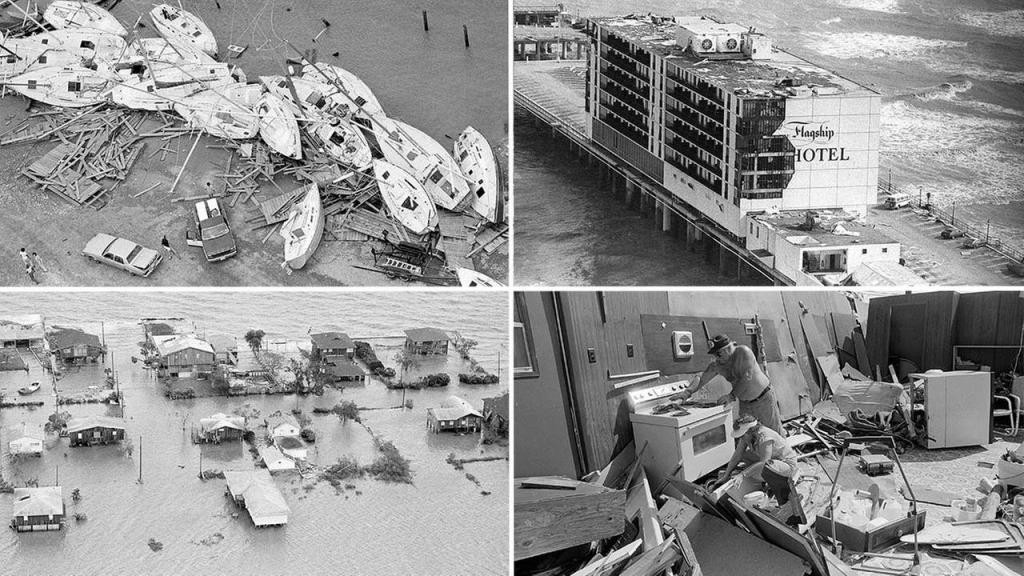 Aftermath of Hurricane Alicia, 1983.